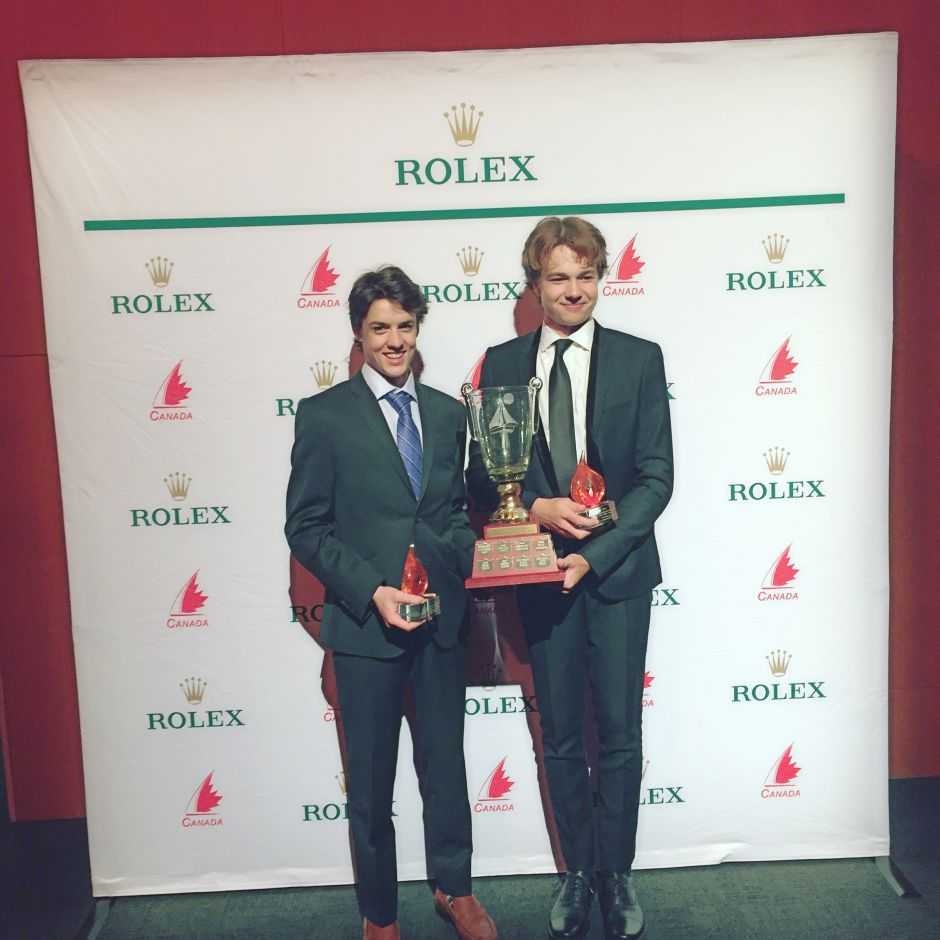 Pat and Ari receive Bill Burke Award for top Canadian Youth Sailors at Rolex dinner