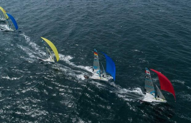 Leading the fleet at the 2019 European Championships