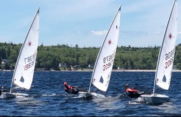 Traing in St.Margarets Bay with Ben George(far left) and Harrison Bruce(centre)
